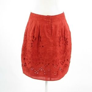 Baraschi red linen eyelet A-line skirt 6